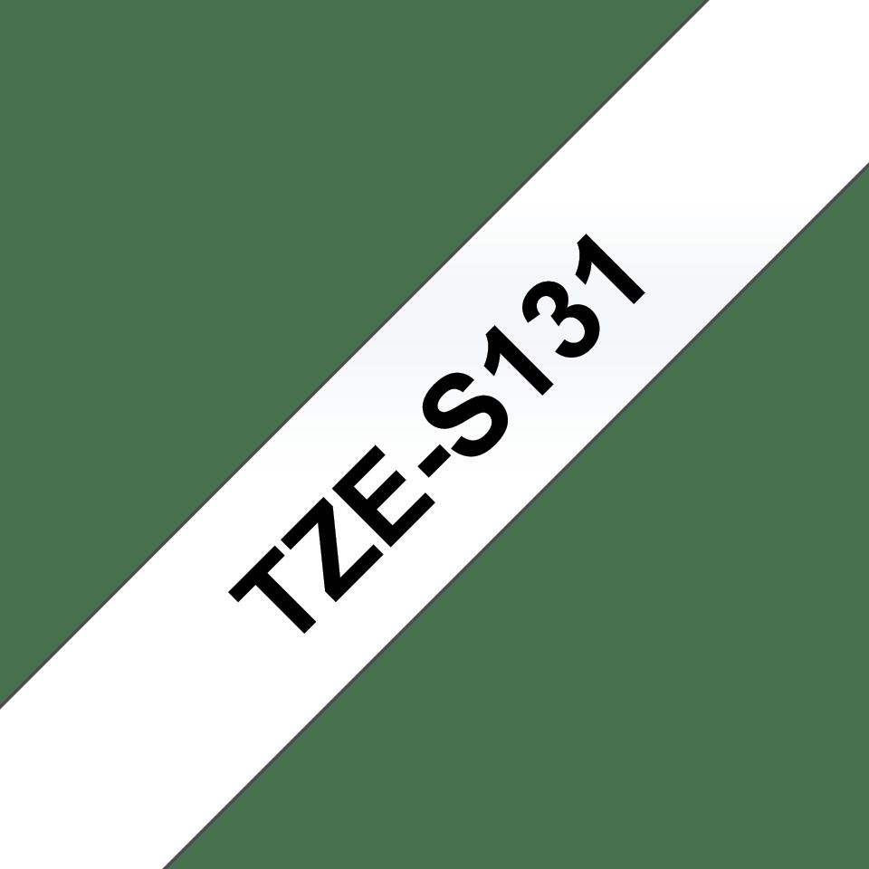 Originele Brother TZe-S131 sterk klevende label tapecassette - zwart op transparant, breedte 12 mm