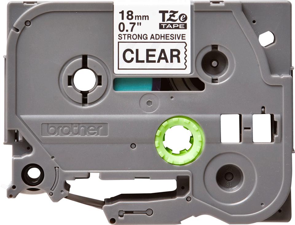 Originele Brother TZe-S141 sterk klevende label tapecassette - zwart op transparant, breedte 18 mm 2