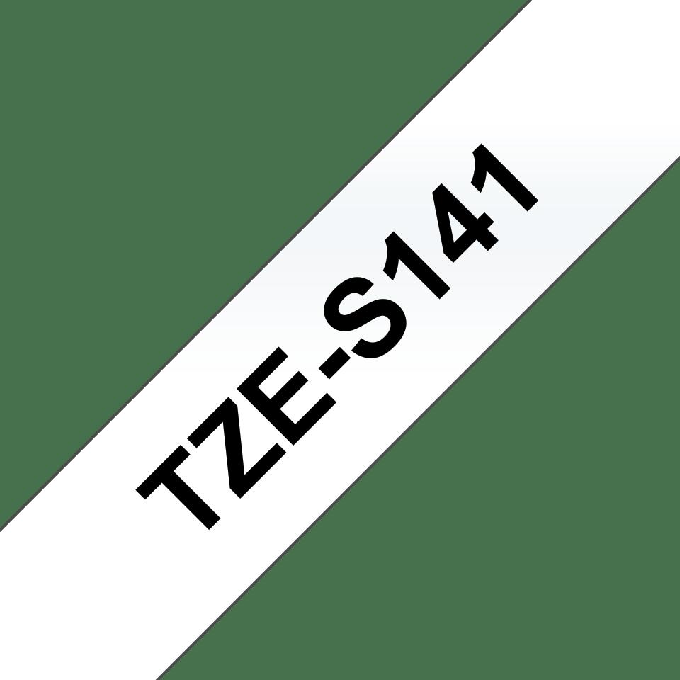 Originele Brother TZe-S141 sterk klevende label tapecassette - zwart op transparant, breedte 18 mm