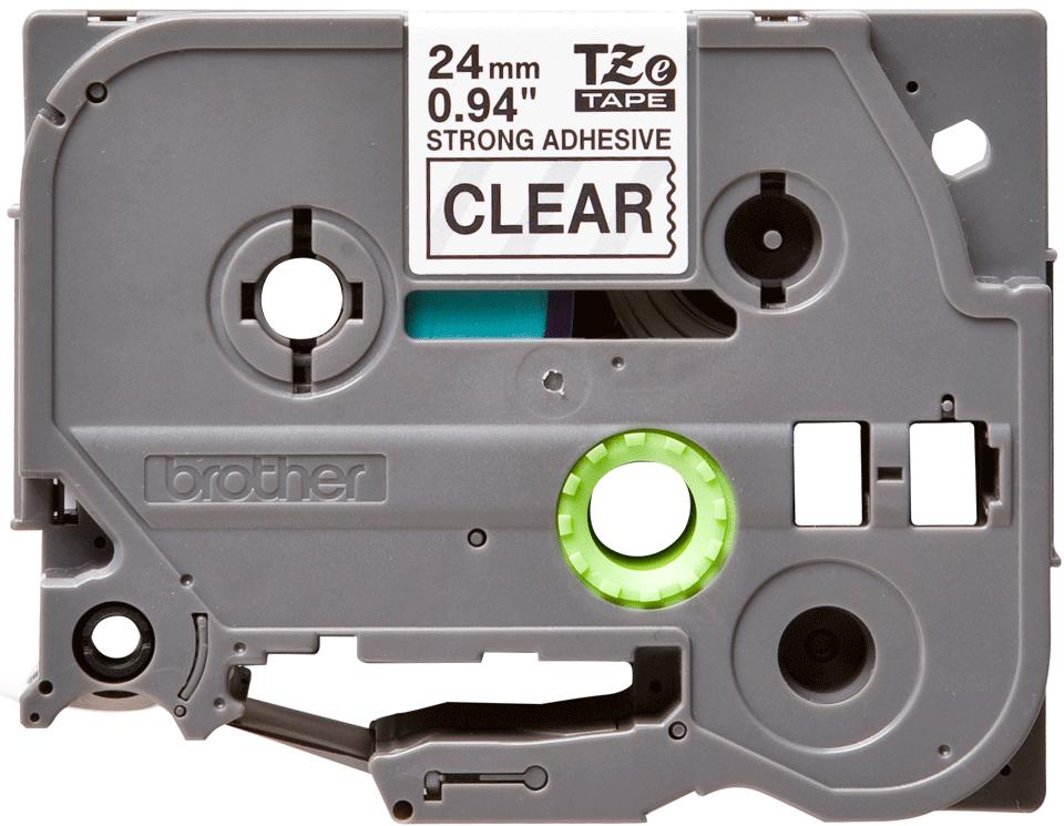 Originele Brother TZE-S151 sterk klevende label tapecassette - zwart op transparant, breedte 24 mm 2