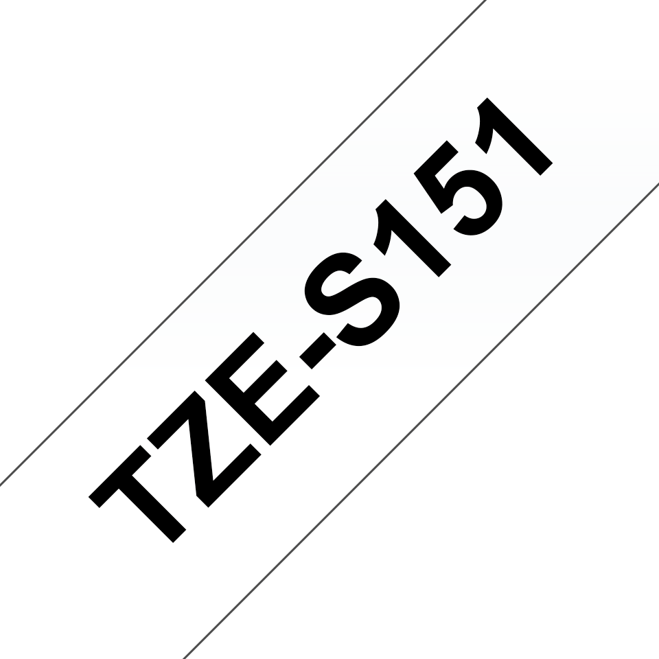 Originele Brother TZE-S151 sterk klevende label tapecassette - zwart op transparant, breedte 24 mm