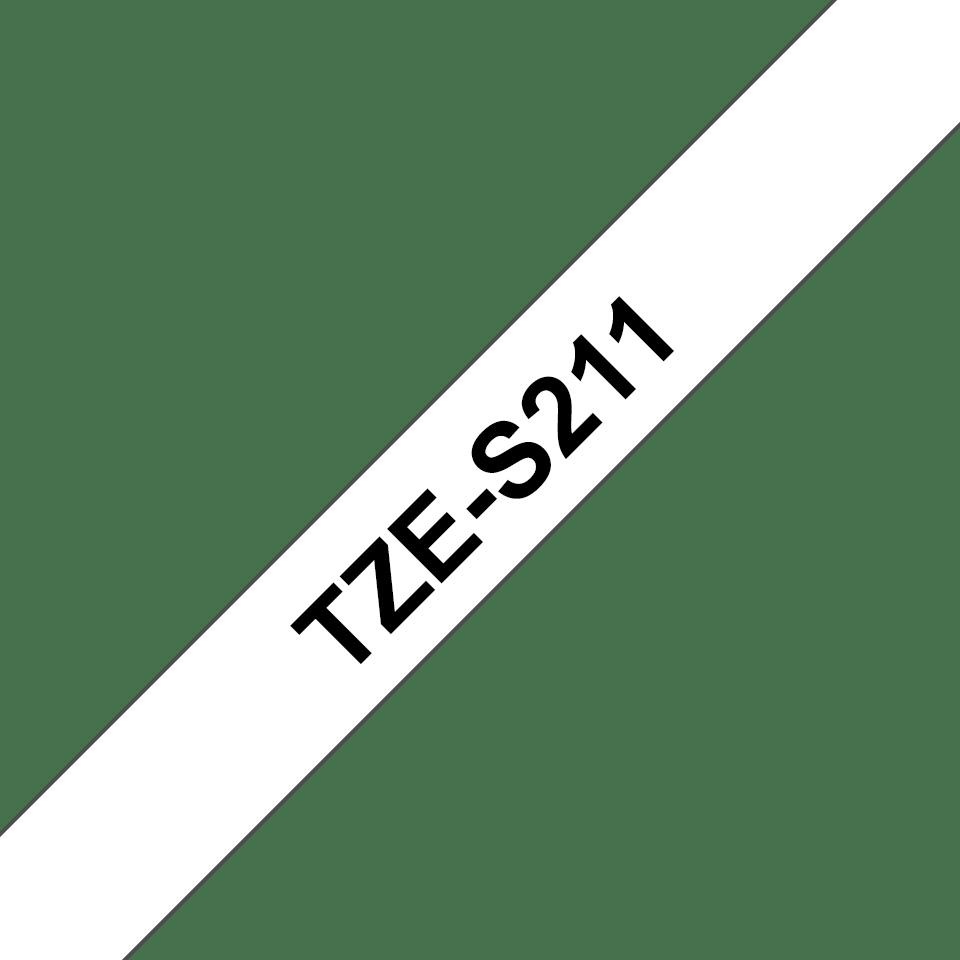 Originele Brother TZe-S211 sterk klevende label tapecassette - zwart op wit, breedte 6 mm