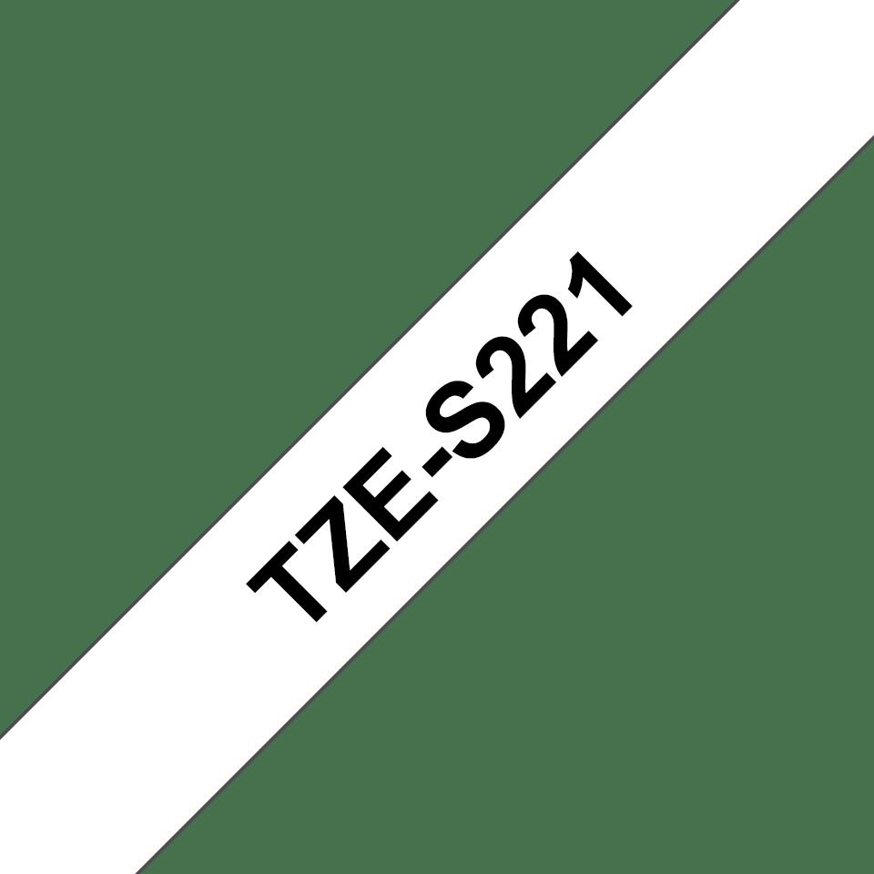 Originele Brother TZe-S221 sterk klevende label tapecassette - zwart op wit, breedte 9 mm