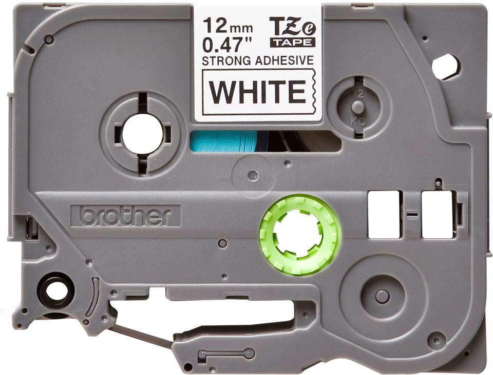 Originele Brother TZe-S231 Sterk klevende label tapecassette – zwart op wit, breedte 12 mm 2