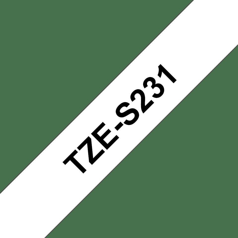 Originele Brother TZe-S231 Sterk klevende label tapecassette – zwart op wit, breedte 12 mm