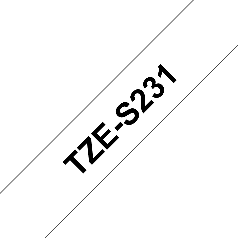 Originele Brother TZe-S231 Sterk klevende label tapecassette – zwart op wit, breedte 12 mm