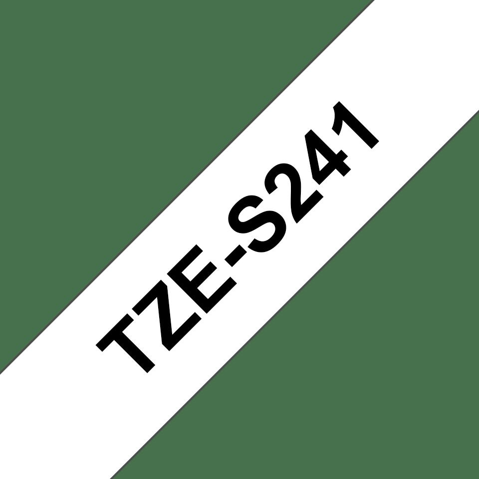 Originele Brother TZe-S241 sterk klevende label tapecassette -zwart op wit, breedte 18 mm