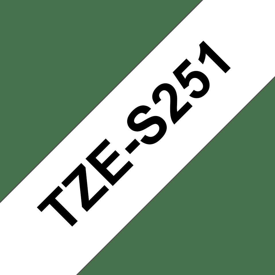 Originele Brother TZe-S251 tapecassette – zwart op wit, breedte 24 mm