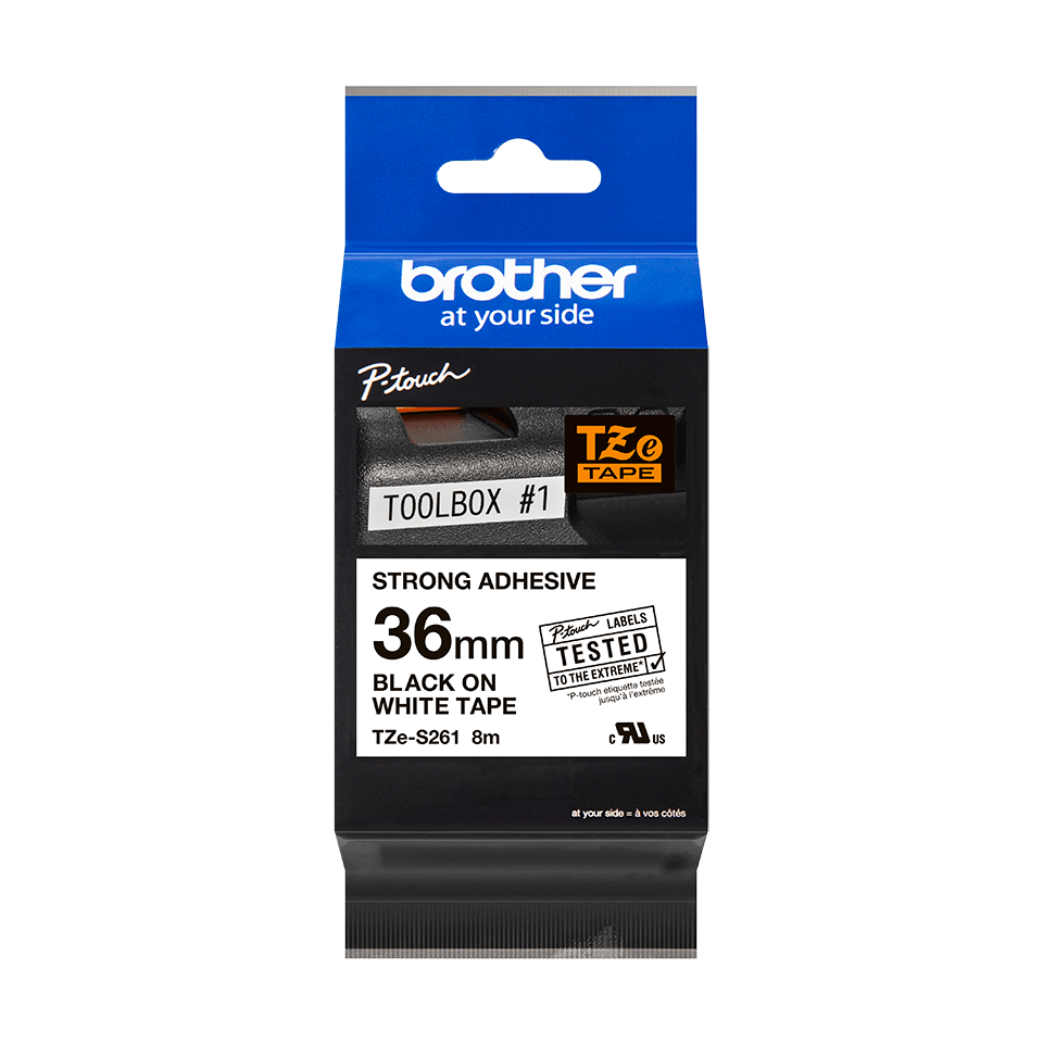 Originele Brother TZe-S261 sterk klevende label tapecassette - zwart op wit, breedte 36 mm 3