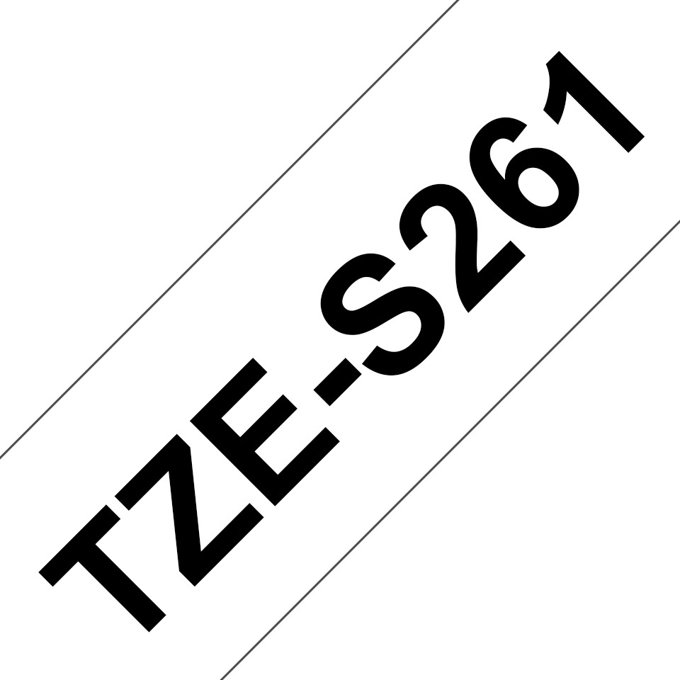 Originele Brother TZe-S261 sterk klevende label tapecassette - zwart op wit, breedte 36 mm