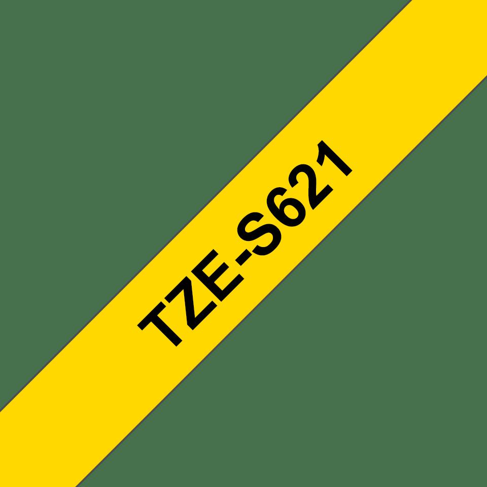 Originele Brother TZe-S621 sterk klevende label tapecassette - zwart op geel, breedte 9 mm
