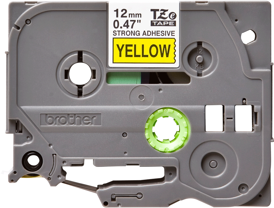 Originele Brother TZe-S631 sterk klevende label tapecassette - zwart op geel, breedte 12 mm 2