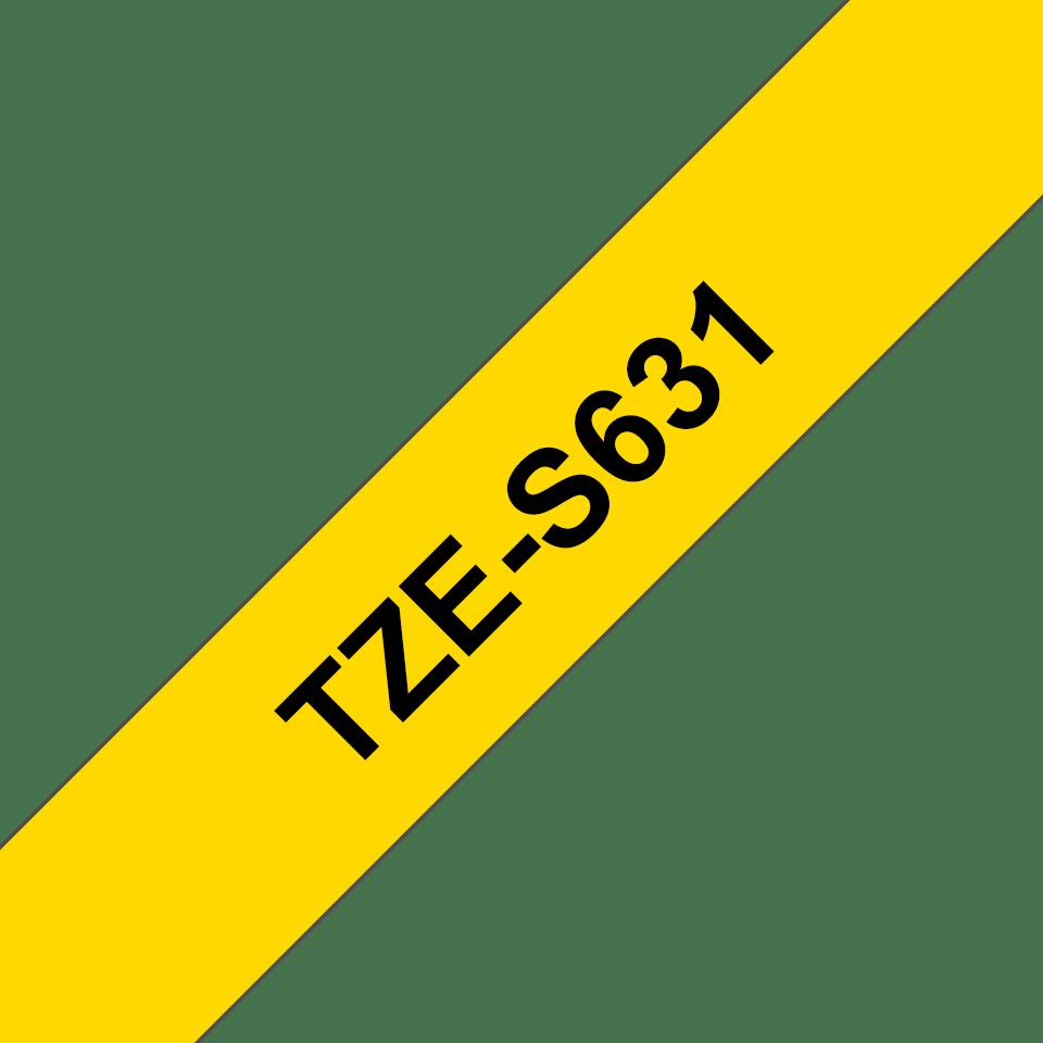 Originele Brother TZe-S631 sterk klevende label tapecassette - zwart op geel, breedte 12 mm