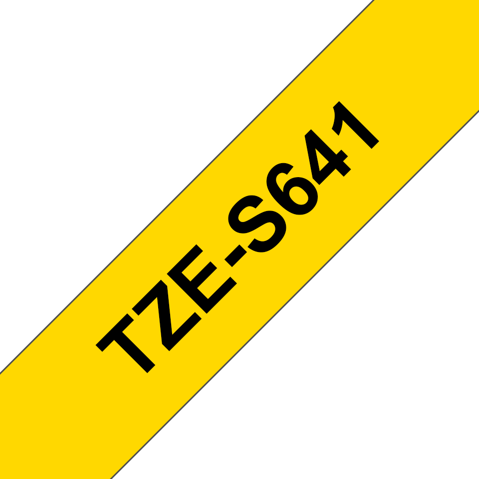Originele Brother TZe-S641 sterk klevende label tapecassette - zwart op geel, breedte 18 mm