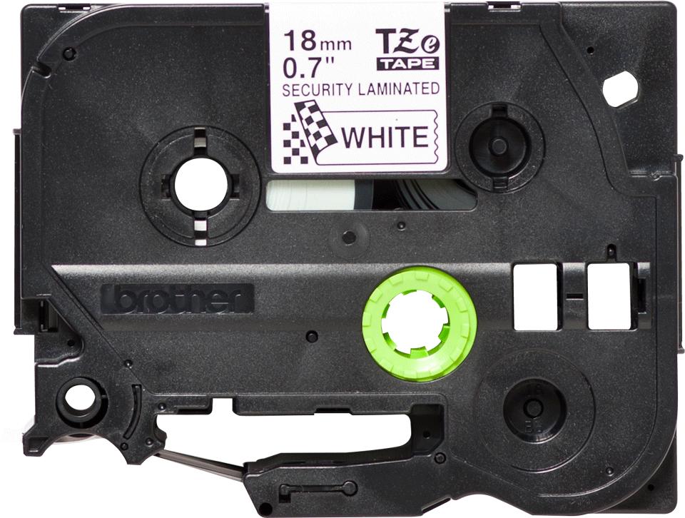 Originele Brother TZe-SE4 tapecassette – zwart op wit, breedte 18 mm