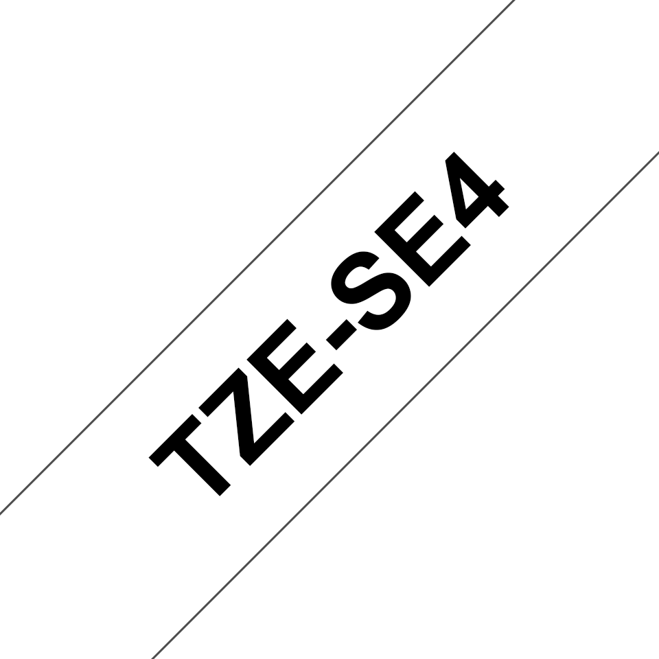 Originele Brother TZe-SE4 tapecassette – zwart op wit, breedte 18 mm 2