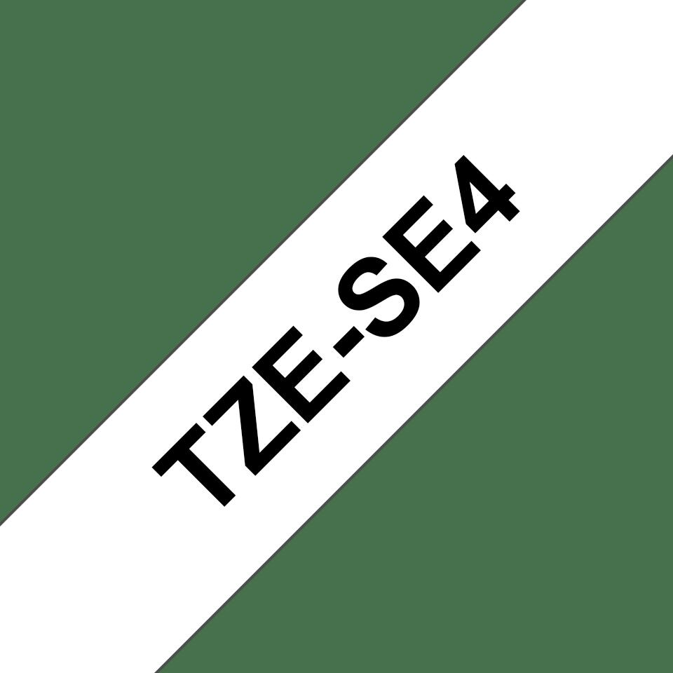 Originele Brother TZe-SE4 veiligheidstape – zwart op wit, breedte 18 mm