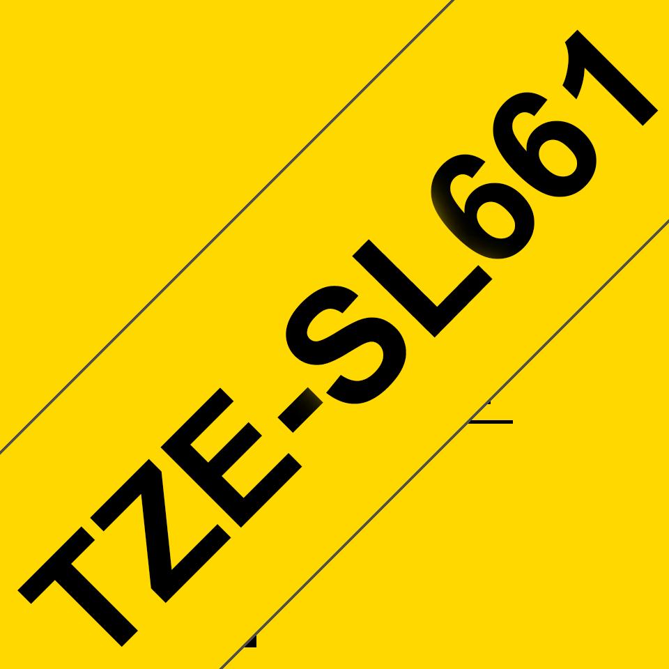 Originele Brother TZe-SL661 zelflaminerende label tapecassette - zwart op geel, breedte 36 mm 3